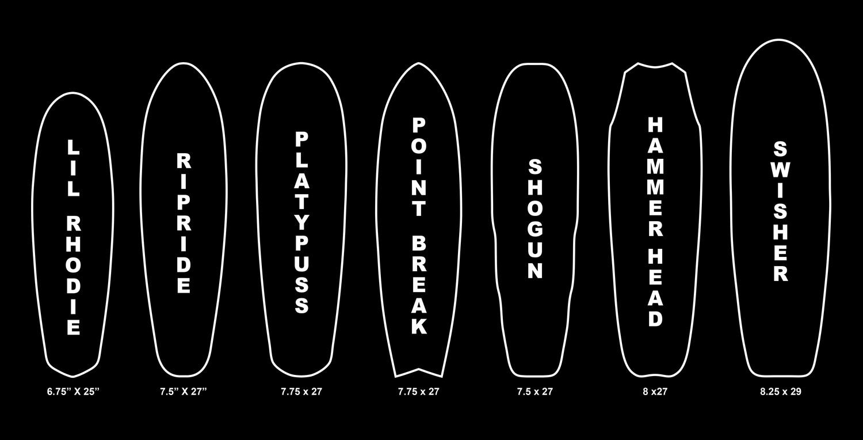 different skateboards